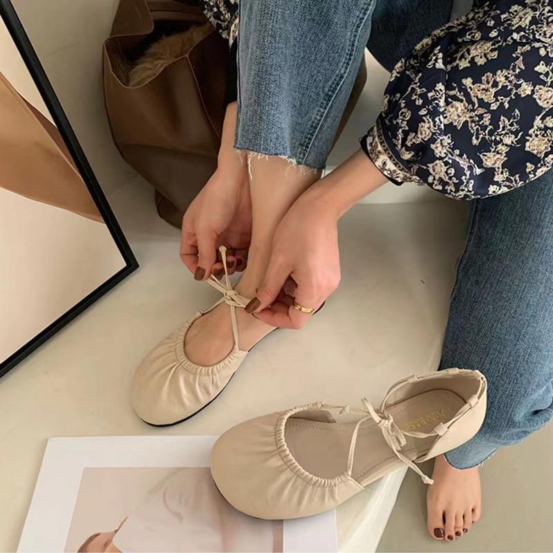 芭蕾舞单鞋女复古百搭学生仙女风绑带淑女软底圆头平底半包头凉鞋