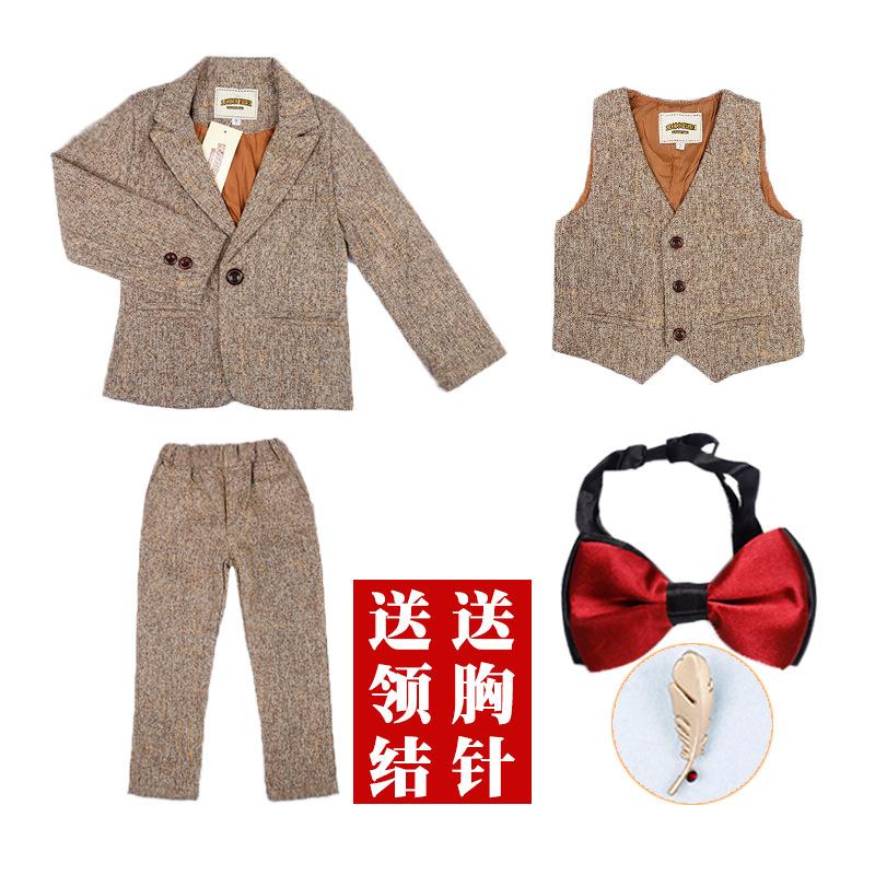 秋季男童宝宝小西装英伦格子春秋装马甲西服演出花童礼服三件套装