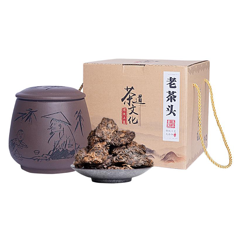 克 500 散沱茶临沧罐装礼品 十六年陈茶普洱茶熟茶 冰岛古树老茶头