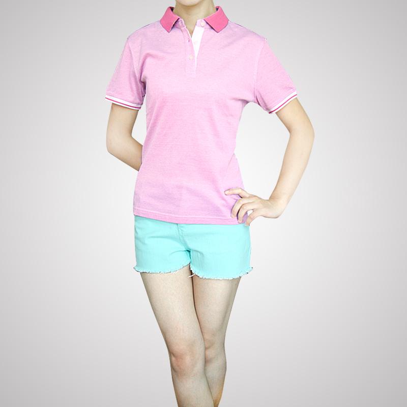 雅戈尔T恤情侣装夏装男女装纯棉全棉丝光棉短袖T恤粉色款