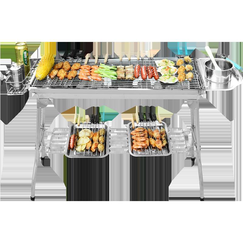 原始人烧烤架家用木炭户外5人以上野外烧烤炉全套工具架子bbq炉子