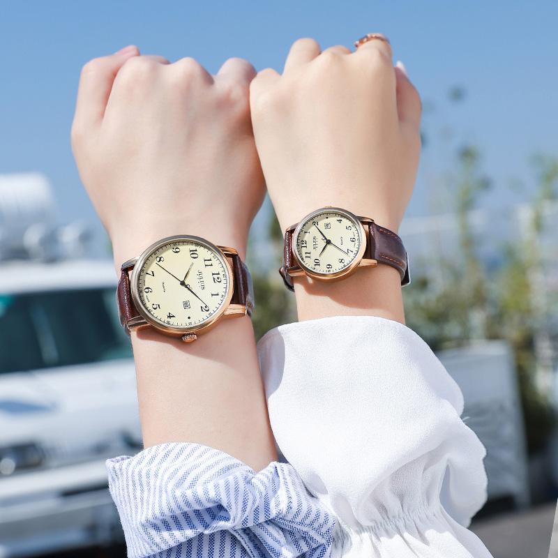 聚利时情侣手表一对时尚女士简约气质复古学生韩版防水日历男女表