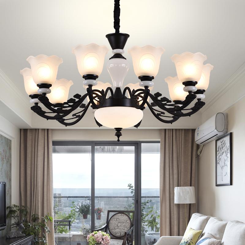 客厅卧室灯饰水晶欧式吊灯家用美式吸顶灯简约大气餐厅陶瓷吊灯具