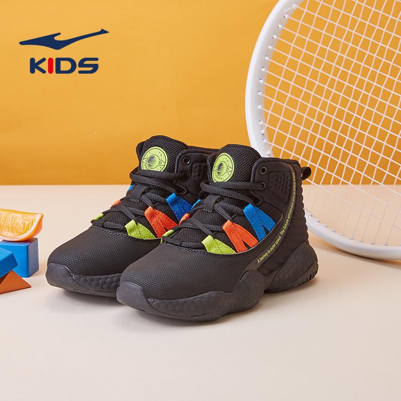 鸿星尔克童鞋男童板鞋2019冬季新款儿童中大童防滑保暖高帮运动鞋