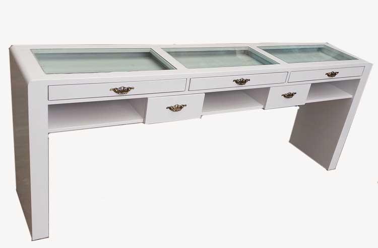 上海市烤漆双层玻璃单双三人美甲桌修甲台现货美甲桌牢固