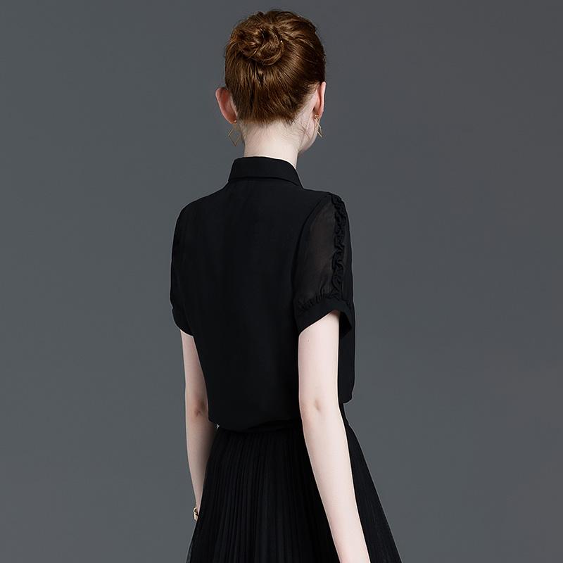 职业雪纺衬衫女夏季薄款百搭显瘦2021新款短袖木耳边上衣黑色衬衣主图
