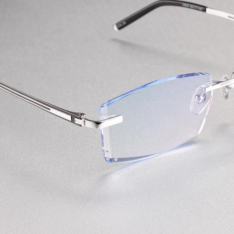 097 纯钛无框近视眼镜男配成品变色渐进色眼镜框切边近视眼镜架