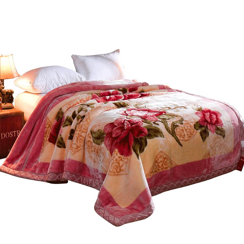 恒源祥拉舍尔毛毯午睡毯子加厚双层婚庆冬季单双人盖毯空调毯10斤