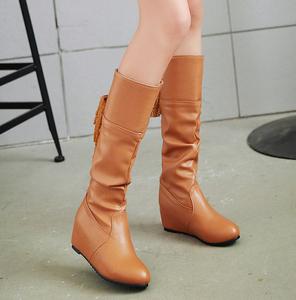 2017秋冬长靴女靴高筒靴平跟韩版内增高骑士靴长筒靴平底中靴女鞋
