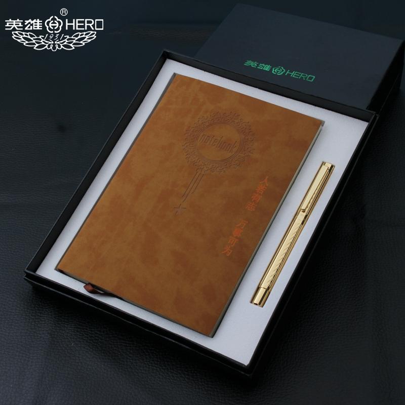 HERO/英雄钢笔成人办公男女士墨水书写笔记本子套装商务礼品书法练字学生专用生日礼物送老师旗舰金色铱金笔