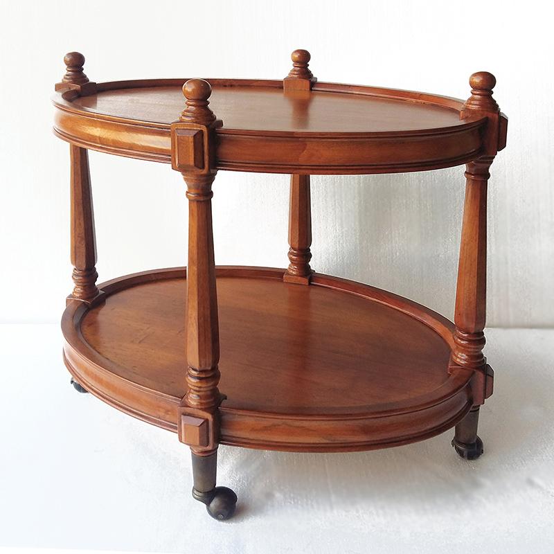美式移动圆边几角几实木小茶几小户型餐车多功能沙发边几茶几