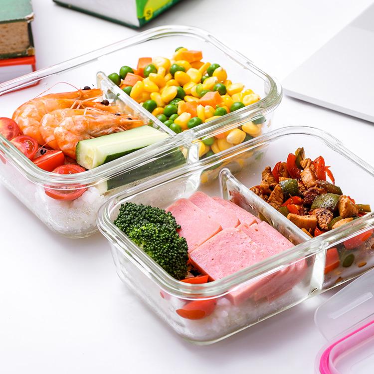 宏達耐熱玻璃保鮮盒家用保溫多功能分隔飯盒微波爐冰箱適用便當盒