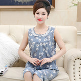 Middle-aged and elderly mother pajamas female summer cotton middle-aged thin section XL sleeveless vest home service two-piece suit