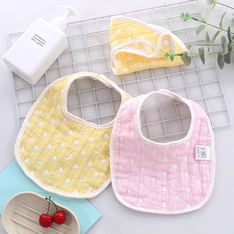图强 3条装纯棉婴儿口水巾宝宝新生儿饭兜围兜小围嘴 纱布围嘴