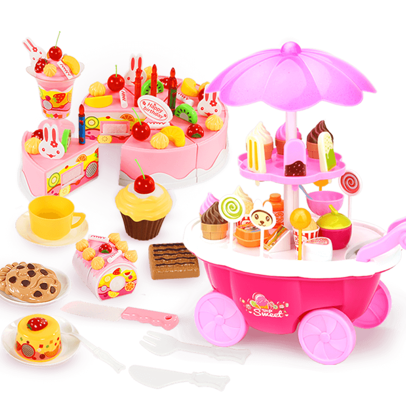贝恩施儿童过家家冰淇淋糖果雪糕车蛋糕玩具女孩仿真小手推车套装