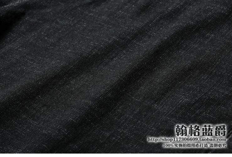 欧洲站夏季薄款进口丹宁微弹超薄款原色水洗透气黑灰色牛仔裤男潮