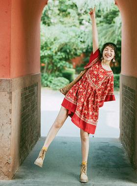 云南民族风连衣裙夏胖妹妹遮肉显瘦红裙海边度假拍照旅行女装