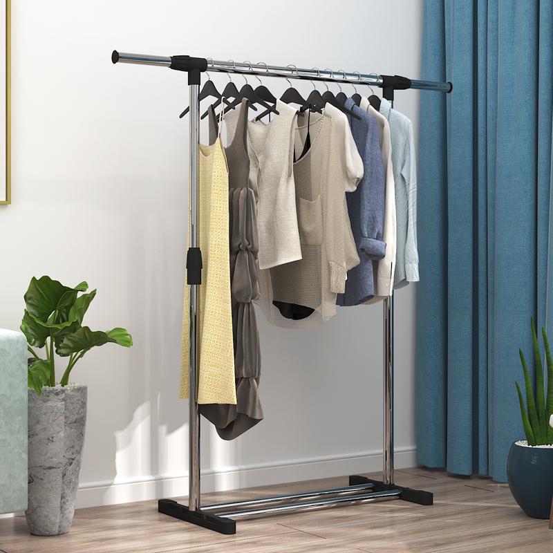 不锈钢晾衣架落地卧室折叠室内双杆式晾衣杆阳台伸缩单杆式衣架子