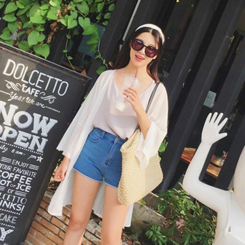 透视网纱薄外套泰国旅游度假上衣中长款防晒开衫沙滩海边防晒衣女