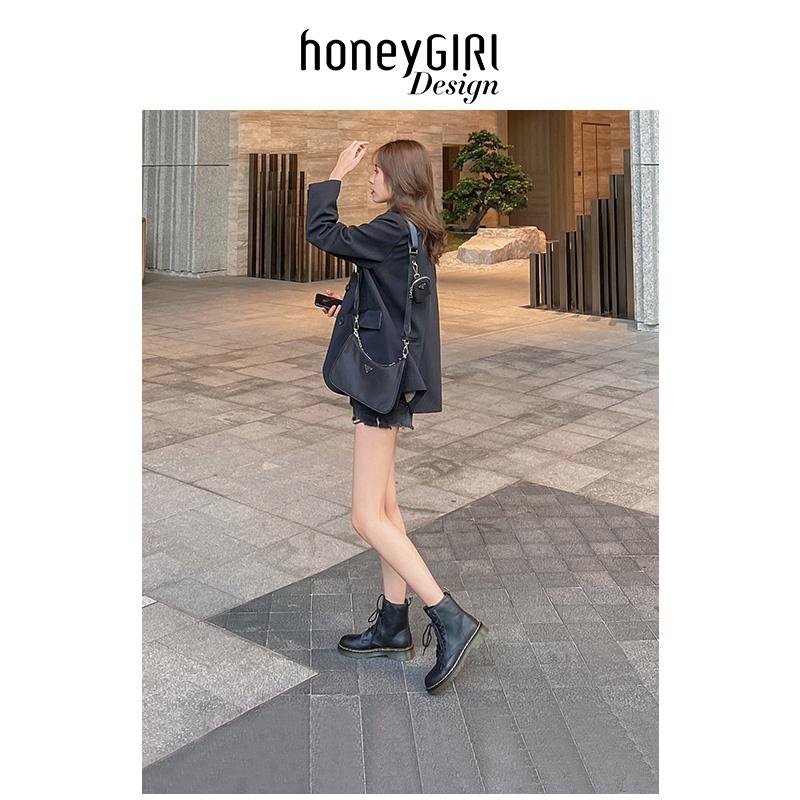 honeyGIRL马丁靴女春秋冬单靴潮ins酷2020新款英伦风短靴厚底靴子