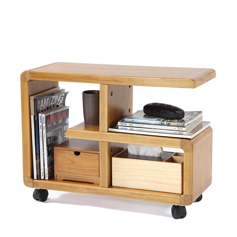 實木可移動層架收納架沙發邊幾宜書架客廳小茶几收納櫃邊桌包郵