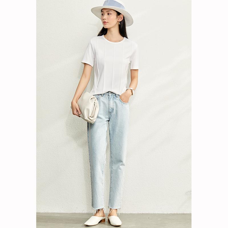 Amii2020新款夏季网红设计感小众心机短款上衣纯色短袖T恤女ins潮主图