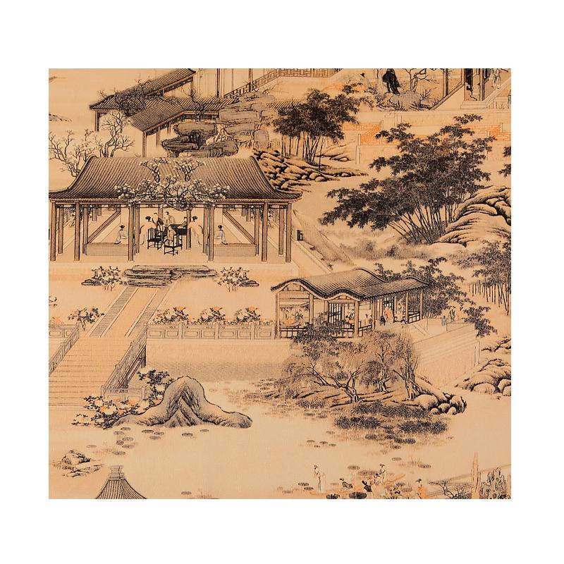 古典中式墙纸传统清明上河图大观园壁纸饭店茶楼茶室背景墙纸酒店