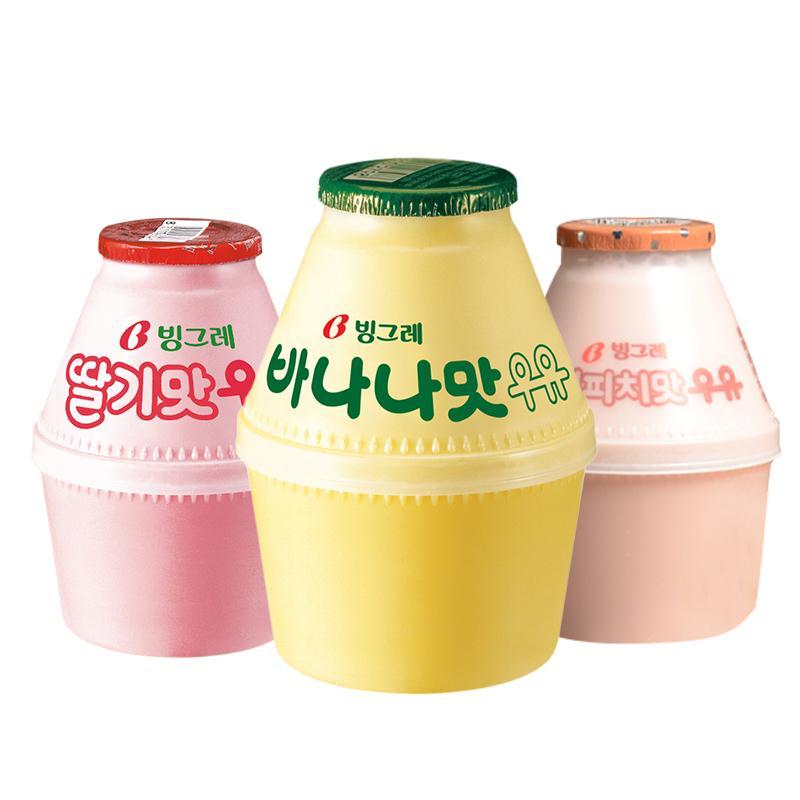 宾格瑞香蕉牛奶香草草莓味 网红进口韩国小胖瓶装坛子奶238ml包邮