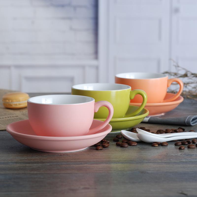 淘礼轩磨砂220ml陶瓷欧式咖啡杯碟套装拉花杯简约卡布奇诺杯定制