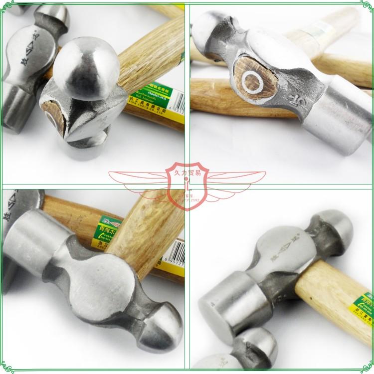 胜达工具 1P-2.5P青岗木柄圆头锤子 锻打奶头锤家用五金锤子
