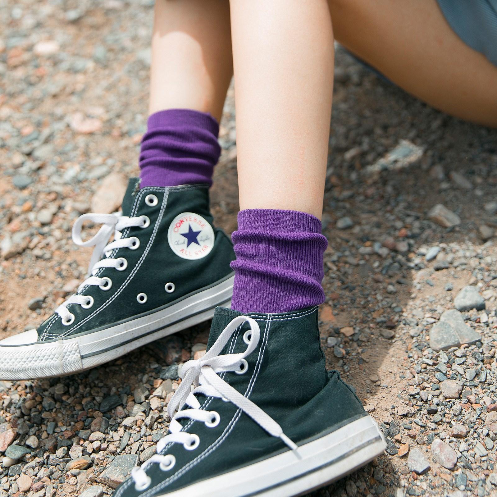长袜子女中筒袜堆堆袜ins潮秋冬纯色网红薄款黑色街头长筒袜秋季