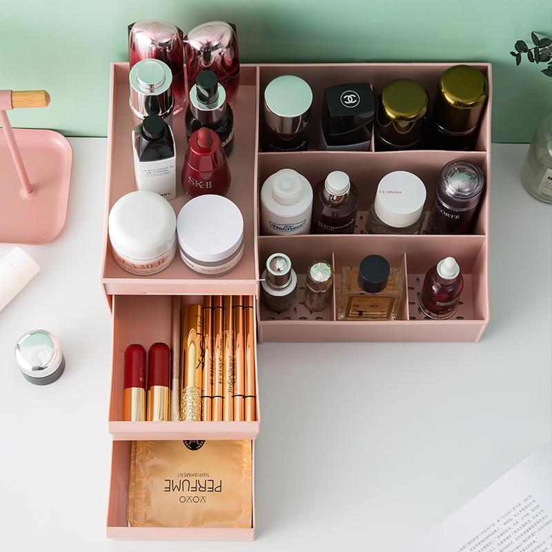 抽屉式化妆品收纳盒宿舍学生整理护肤桌面梳妆台面膜口红置物架