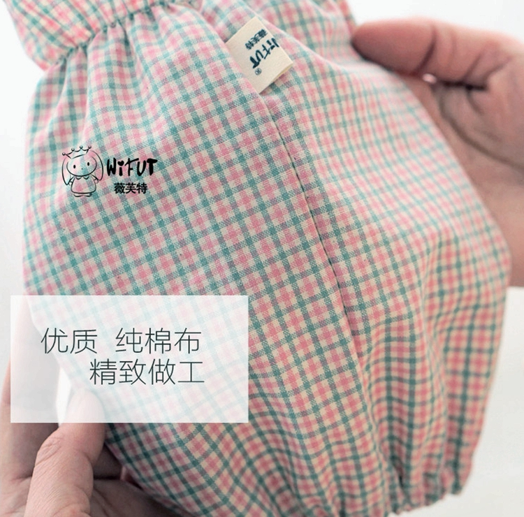 韩版清新可爱小格子纯棉袖套女 短款秋冬办公日用套袖防污护袖头