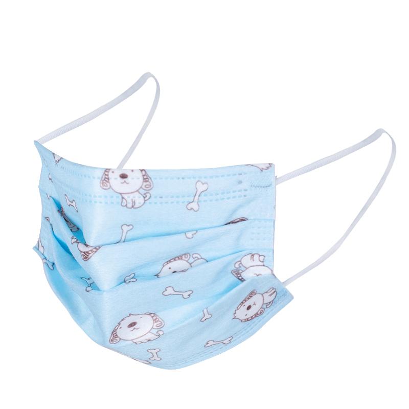 儿童口罩秋冬用小孩蓝色印花男童女童三层防护一次性口罩带熔喷布