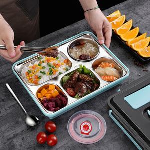 304不锈钢分隔型带餐具饭盒套装