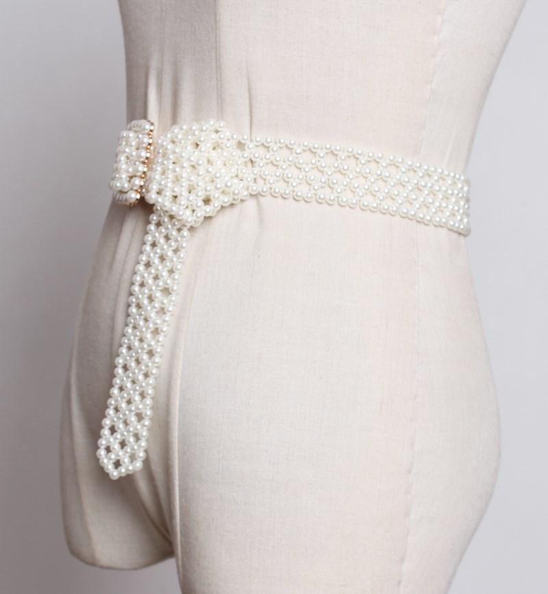 甜美白色珍珠编织宽腰带女流苏装饰配裙子韩国时尚皮带腰