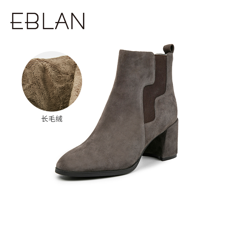 B9688127WX 千百度伊伴女鞋冬季黑色素面加绒加厚切尔西靴短筒棉靴