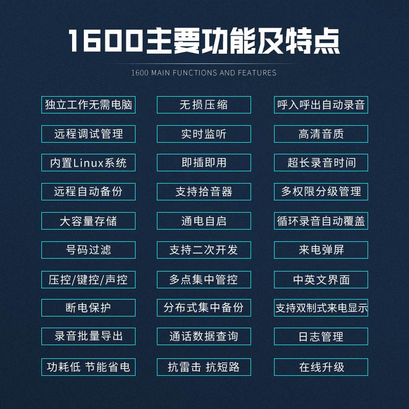 【申瓯Shenou】SOC1608桌面式8路电话录音设备独立式电话录音盒子固话座机电话录音系统录音器录音仪64G