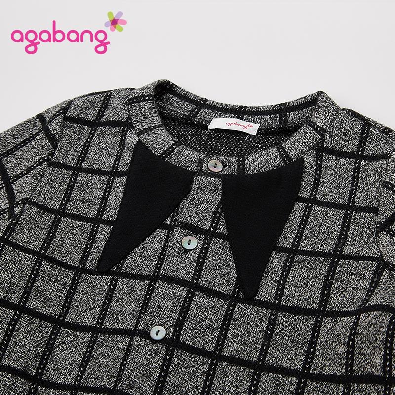 agabang/阿卡邦男童秋冬3件套装外套长袖T恤加绒厚长裤