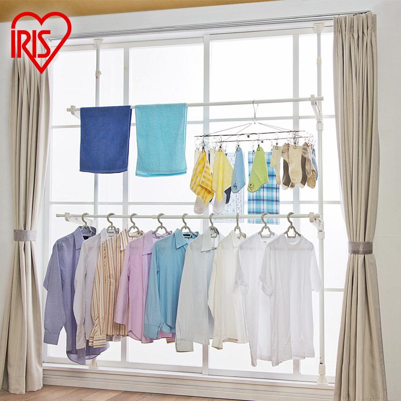 爱丽思IRIS 飘窗晾衣架 室内顶天立地阳台落地伸缩晾晒架