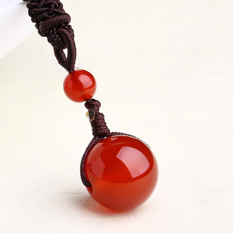 茶白水晶项链饰品 男女款项坠 晶档新款天然黑曜石配饰红玛瑙吊坠