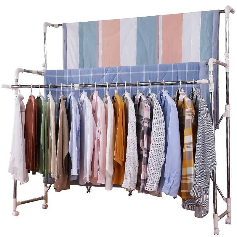 不锈钢晾衣架落地双杆折叠升降室内简易晾衣杆凉衣架阳台晒被子架