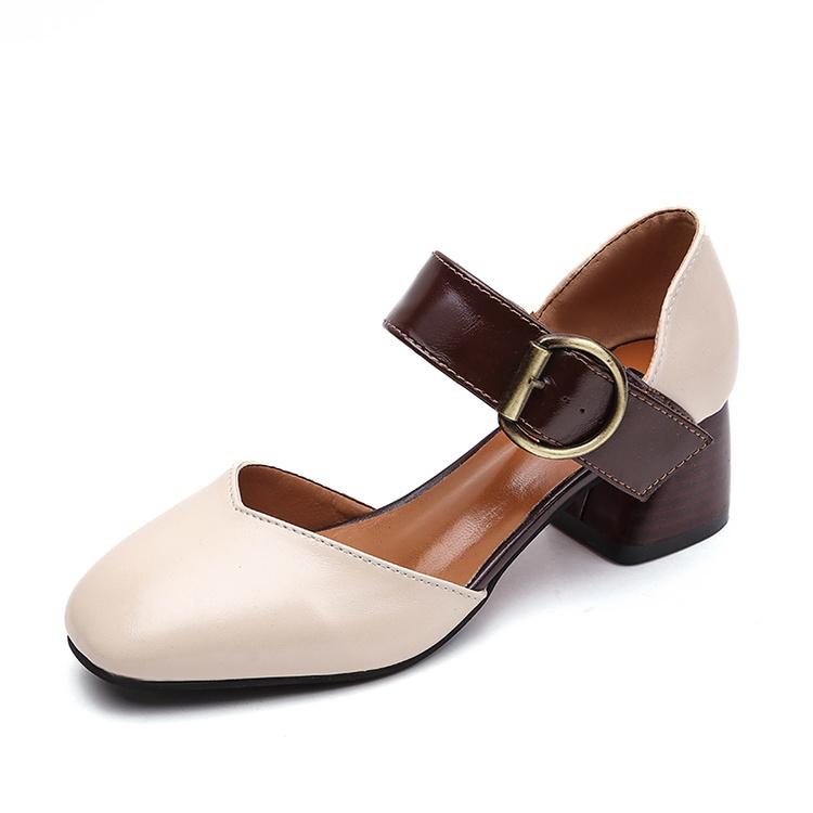 一字带包头凉鞋女夏中跟2017新款韩版玛丽珍女鞋罗马高跟鞋奶奶鞋
