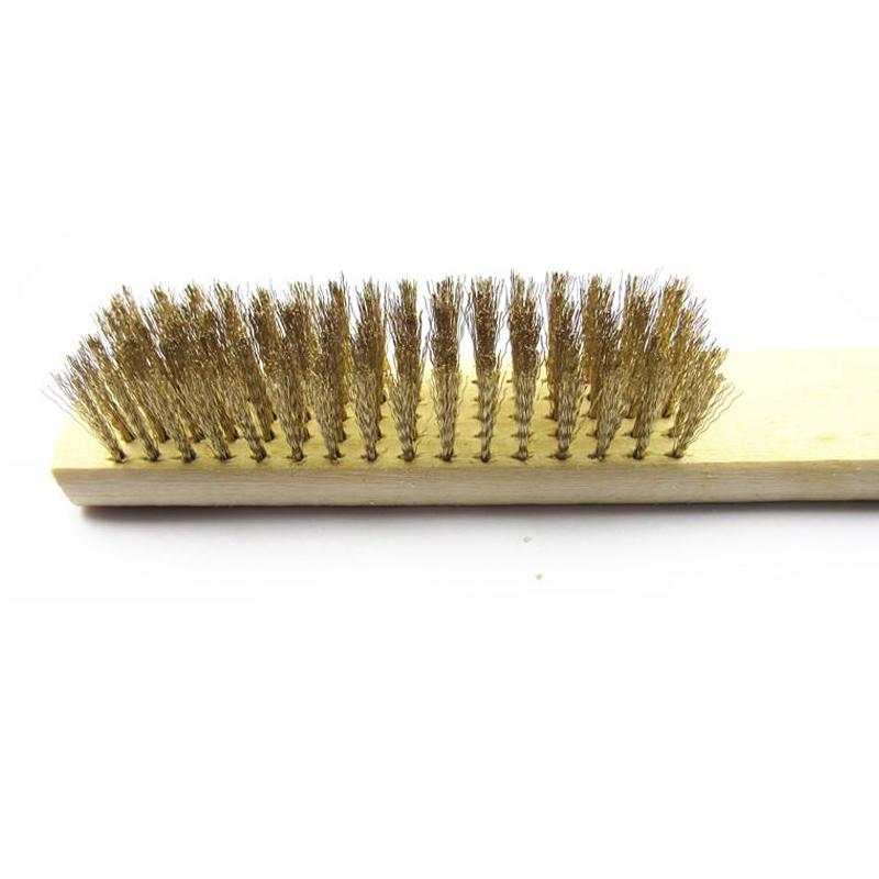 木柄铜丝刷 金属表面清洁刷 除漆除锈刷子 铜丝板刷 钢丝刷