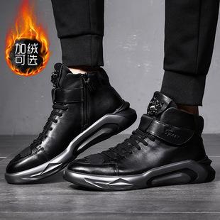 欧洲站车缝线韩版潮鞋新款高帮加绒马丁靴真皮男鞋板鞋头层牛皮