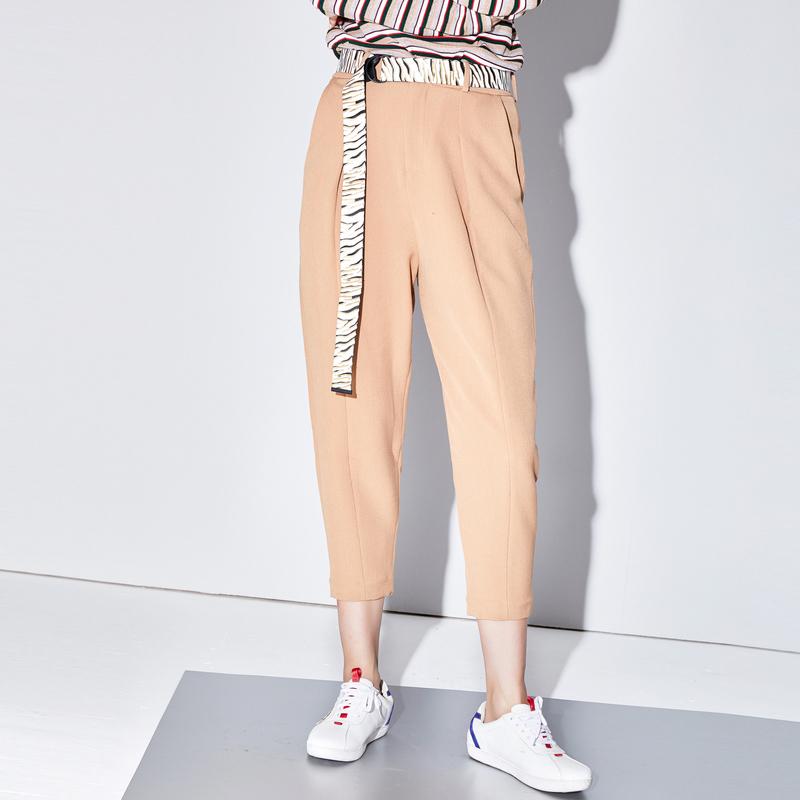 COLOVE卡拉佛2018秋季新品女哈伦裤自然腰街头风九分裤2749116000