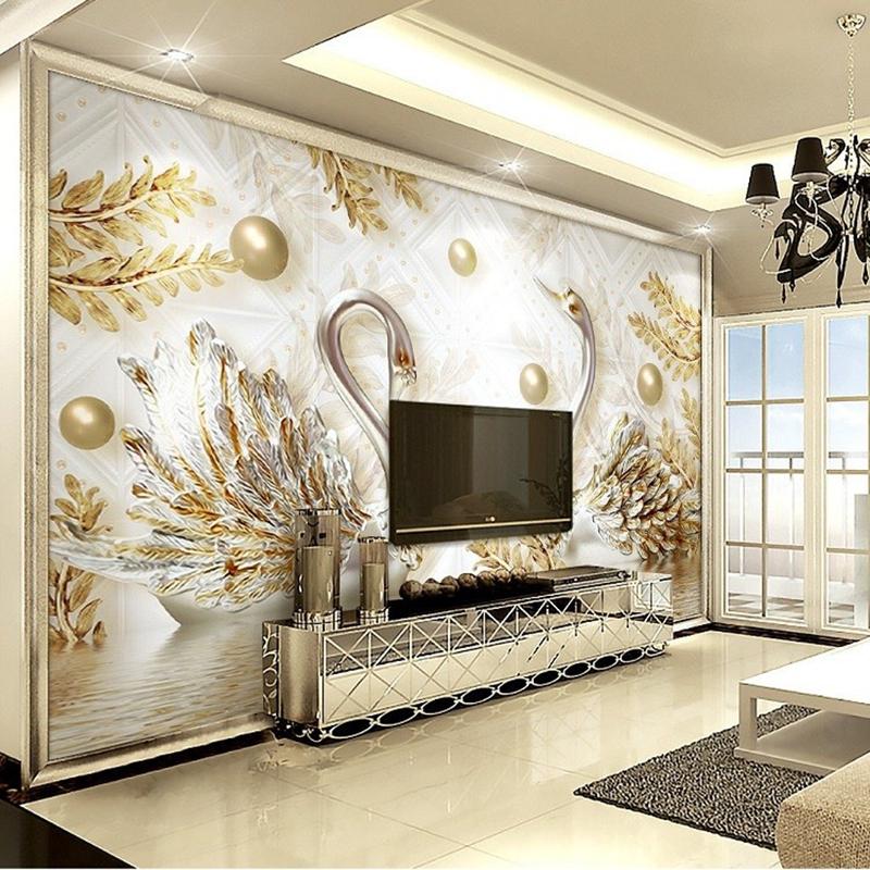 欧式珠宝3d立体浮雕天鹅5d客厅电视背景墙壁纸8d影视墙墙纸壁画