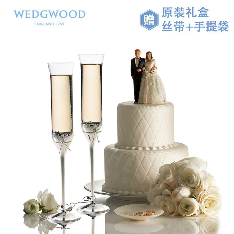 WEDGWOOD王薇薇Vera Wang愛之結繩香檳杯2個紅酒高腳對杯婚禮禮盒