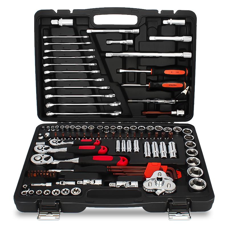 钢拓套筒扳手套装棘轮五金工具箱汽车汽保汽修工具修车工具套装