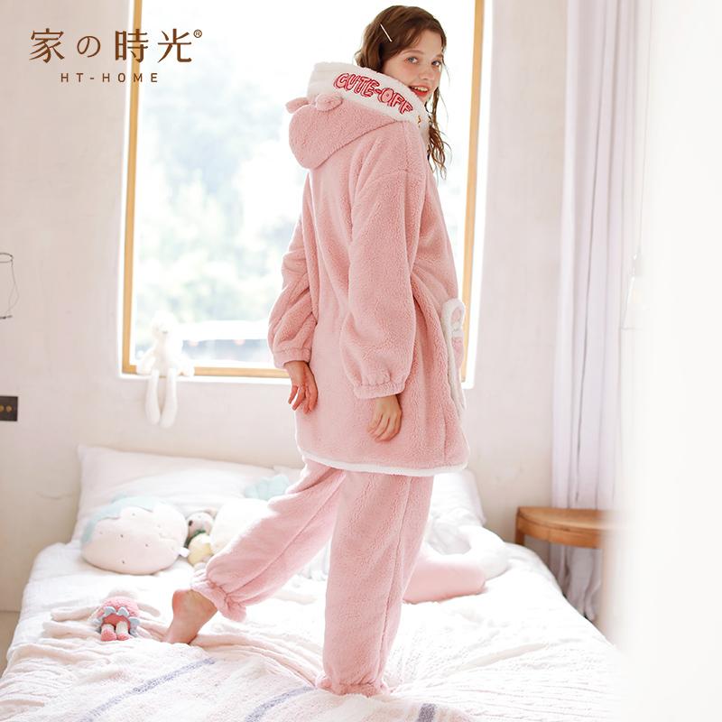秋冬季加绒加厚珊瑚绒月子服孕妇哺乳睡衣冬天产妇出院家居服保暖